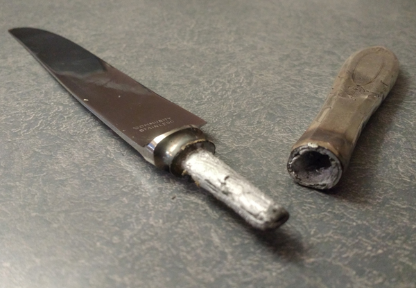 silverplate knife handles used in restoration of rare cheese scoop