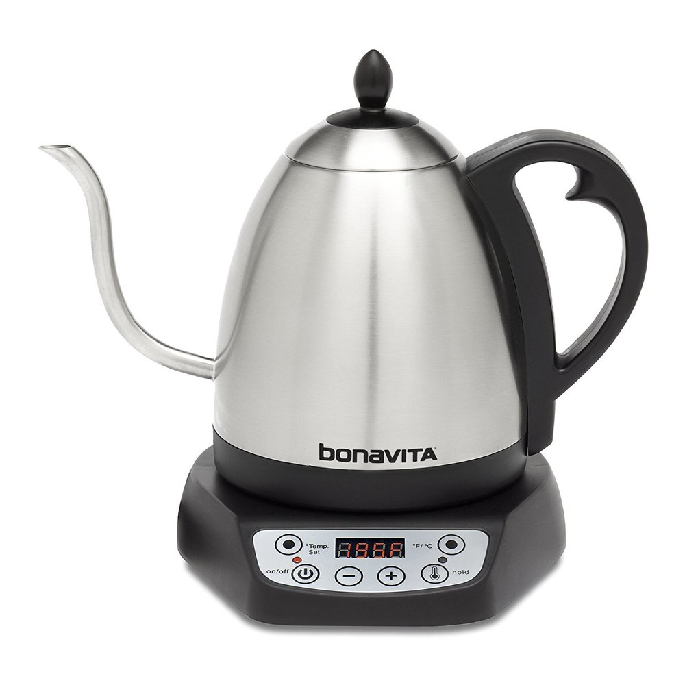 BonaVita Kettle - Speaking of kettles.. I recently invested (yes, invested) in the BonaVita Kettle. I love this one because the thin spout is great for pour over coffee BUT for tea lovers you can set the temperature so you don't have to wait 15 minutes for your tea to cool!
