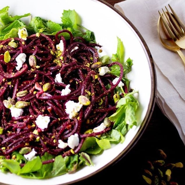 Dreaming of sunshine and fresh salads while I start working on my spring & summer meal plans 🍋 . My boyfriend brought home spirazlied beet noodles last week and they were AMAZING (I don't normally love beets). We cooked and seasoned them  and they were a nice hearty but fresh food for the changing of the seasons. 🌿 . Beets are great for pregnant mamas thanks to their folate content and help with detoxification. They also contain nitrates (the good kind) which help with blood flow and improve energy, performance and heart health. ❤️ . 📷: @purely_elizabeth  #beets #salad #mealplanning #mealplans #tbay #thunderbay #thunderbaynutritionist #tbaynutritionist #holisticnutritionist #nutrition #nutritionfacts #eatrealfood #myrealfoodreset #naturalhealth #paleolunch #beetnoodles #ladyboss #entrepreneur #sportsnutrition