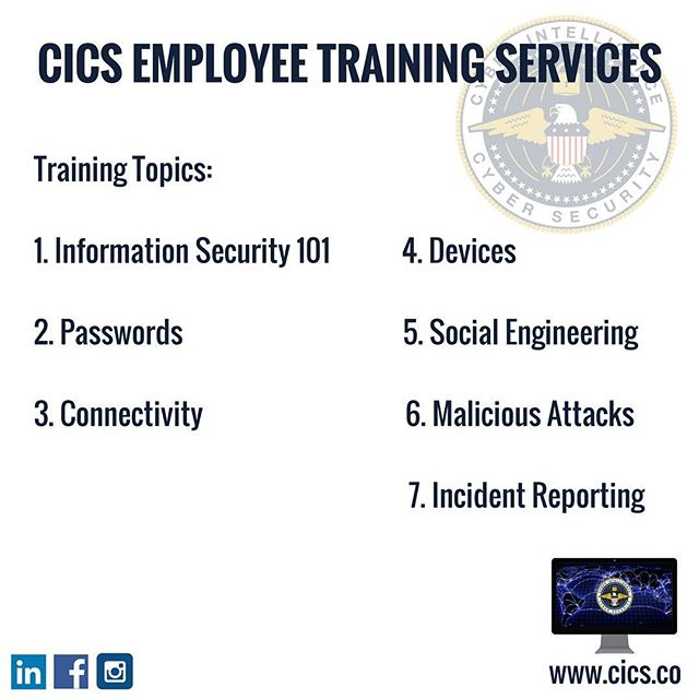 Humans are known to be the 70% of the cybersecurity risks and statistics show that employee training significantly reduced the number of cyber incidents. Visit us on www.cics.co to learn about our employee training services! #cybersecurity #infosec #employeetraining #CICS