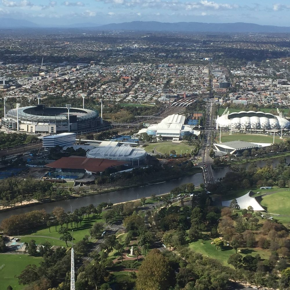 Sports-mad Melbourne: from left, the MCG, Rob Laver Arena, Hisense Park and AAMI Park by Kevin Nansett for The Doubtful Traveller