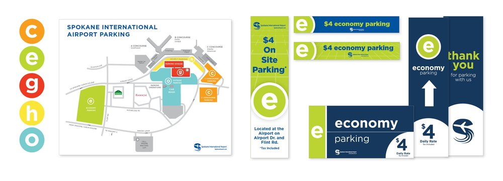 Parking System Map, Digital Ads and Directional Signs
