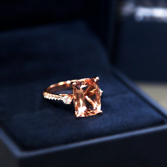 Custom morganite and diamond rose gold ring by  Coast Diamonds .