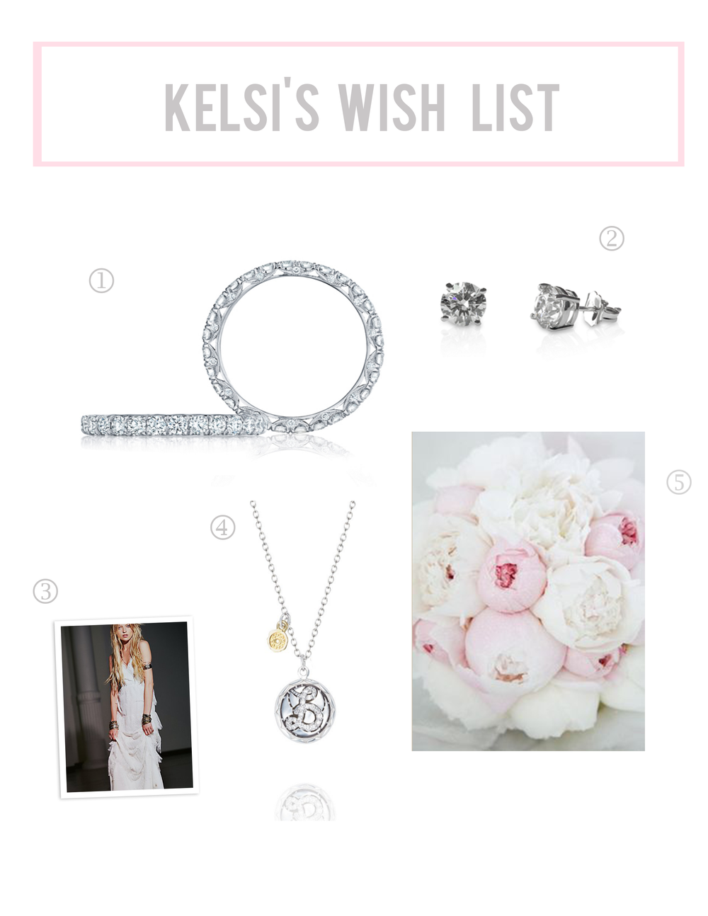 1. Tacori Petite Crescent wedding band  2. Diamond stud earrings  3. Free People tiered lace maxi dress 4. Tacori Love Letter necklace 5. Peonies