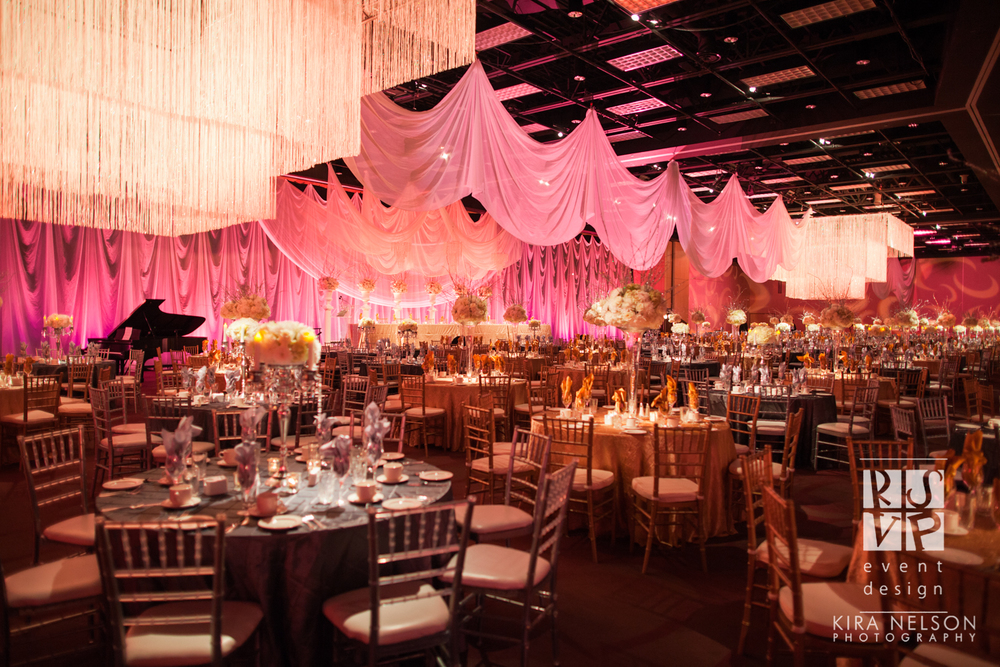 """Nominated for Best Wedding Over 75K in Canada at the Canadian Event Industry Awards in Toronto, this """"Bling"""" inspired reception was an elegant affair of pinks and golds with sweeping florals from Blossoms Living.  Photo: Kira Nelson"""