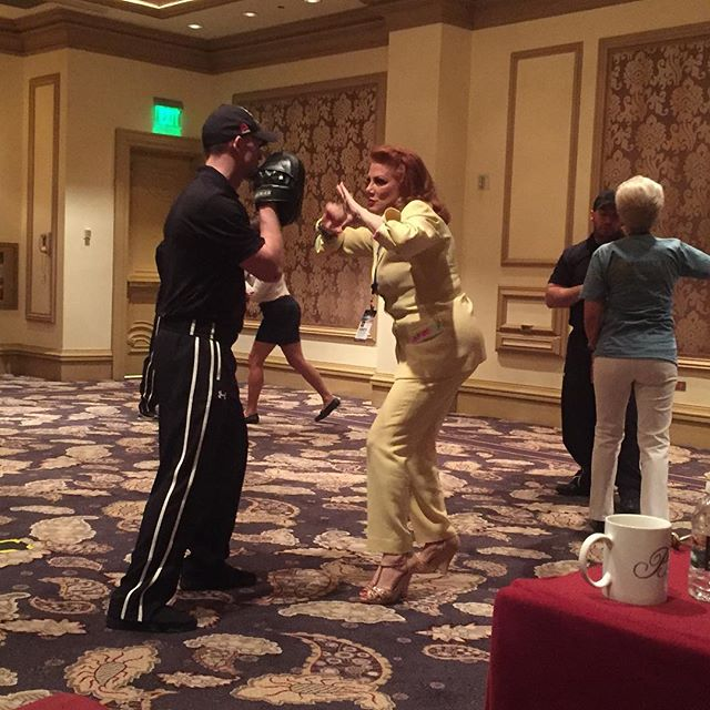 Our founder Georgette Mosbacher practices some of the simple, straightforward self defense techniques on one of our veteran trainers #protectourdaughters #selfdefensetraining #womensempowerment