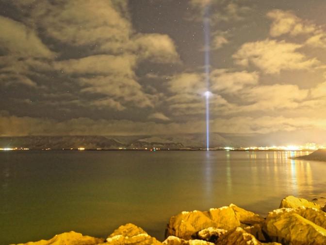 Yoko Ono's Imagine Peace Tower in Reykjavik Harbour
