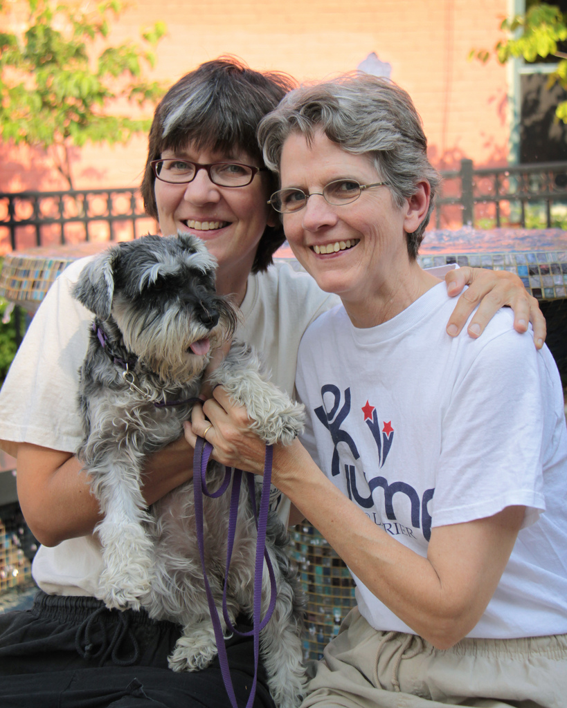 We love Ypsi! The revolution starts in Ypsi! 16 year residents. We feel so lucky to live in the most livable place in the world.   Barbara, Celeste and Tuko - by  Jami Carlson