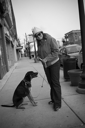 Ypsi Project : Claire and Beretta (via  ericarhiannon )   Met Claire and her sweet dog Beretta while on a walk with Xander today. It was the first relatively nice day in a while.