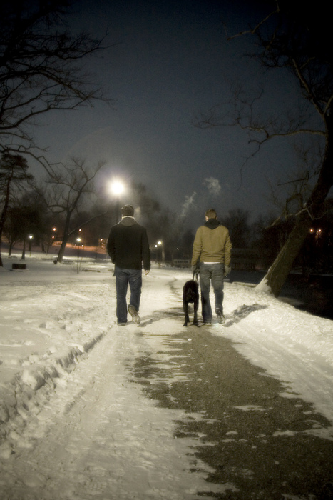 "Ypsi Project : Two Guys and a Dog   I'm surprised I didn't do this sooner. ""This"" being that I forgot to ask these two guys their names.   I was taking a walk with Xander at Riverside Park and I saw these two guys walking our direction with a happy black dog. I thought how perfect, and as they passed I asked if I could take their picture. They agreed and so I snapped a few shots as they kept walking.   That was the extent of our interaction. I did manage to give them my card so maybe they'll see this and email me their names!!   (via  ericarhiannon )"