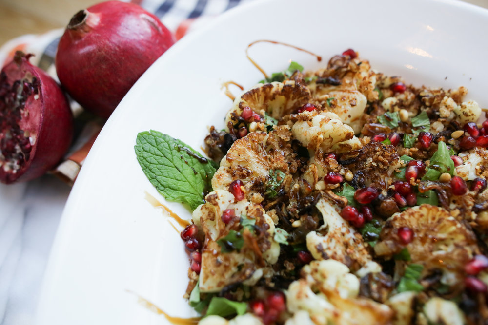 Food Photography of PAMELA SALZMAN'S STOVETOP CAULIFLOWER WITH POMEGRANATE MOLASSES