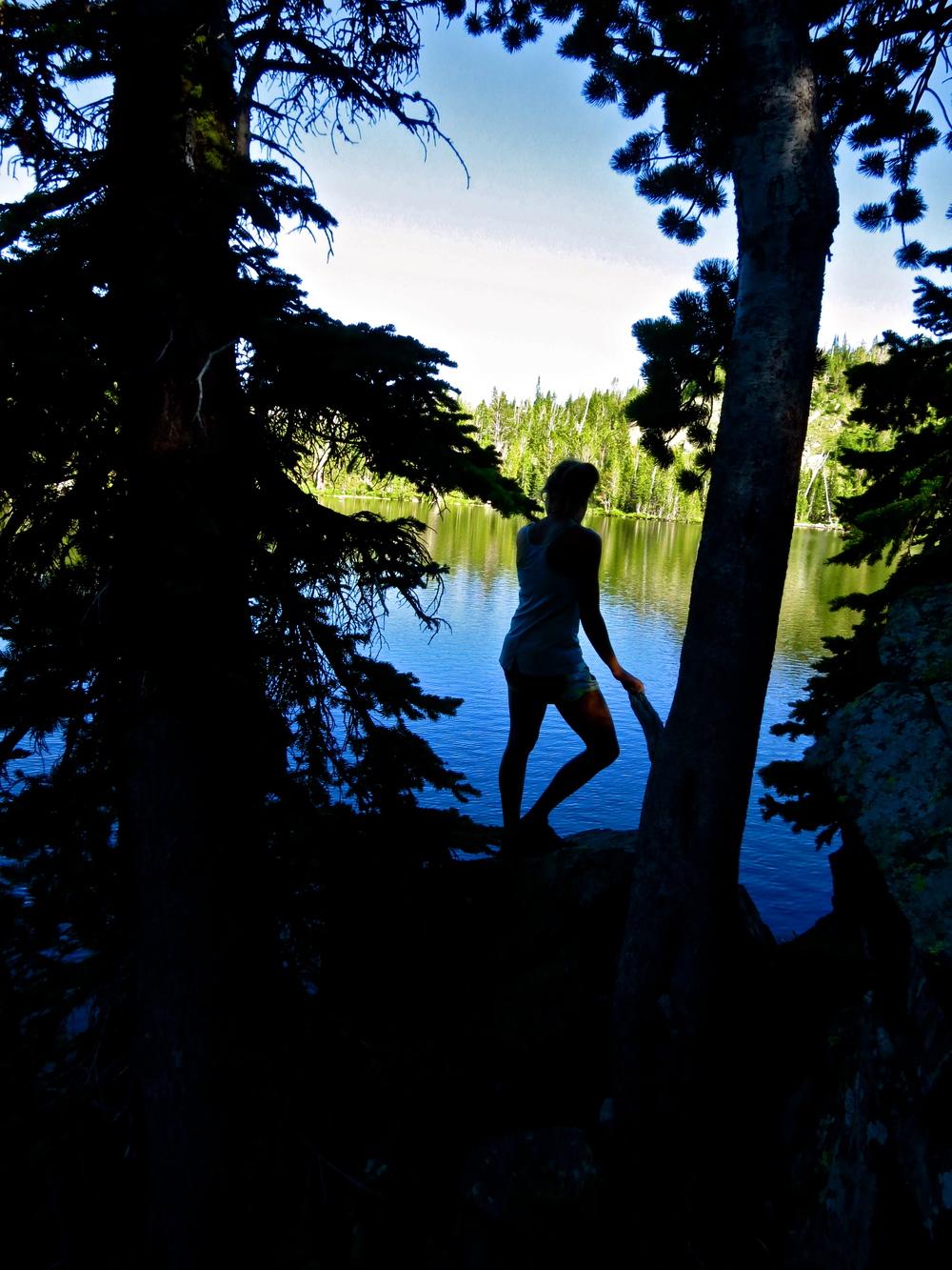 Renee enjoying Jerome Rock Lake in the Spanish Peaks.