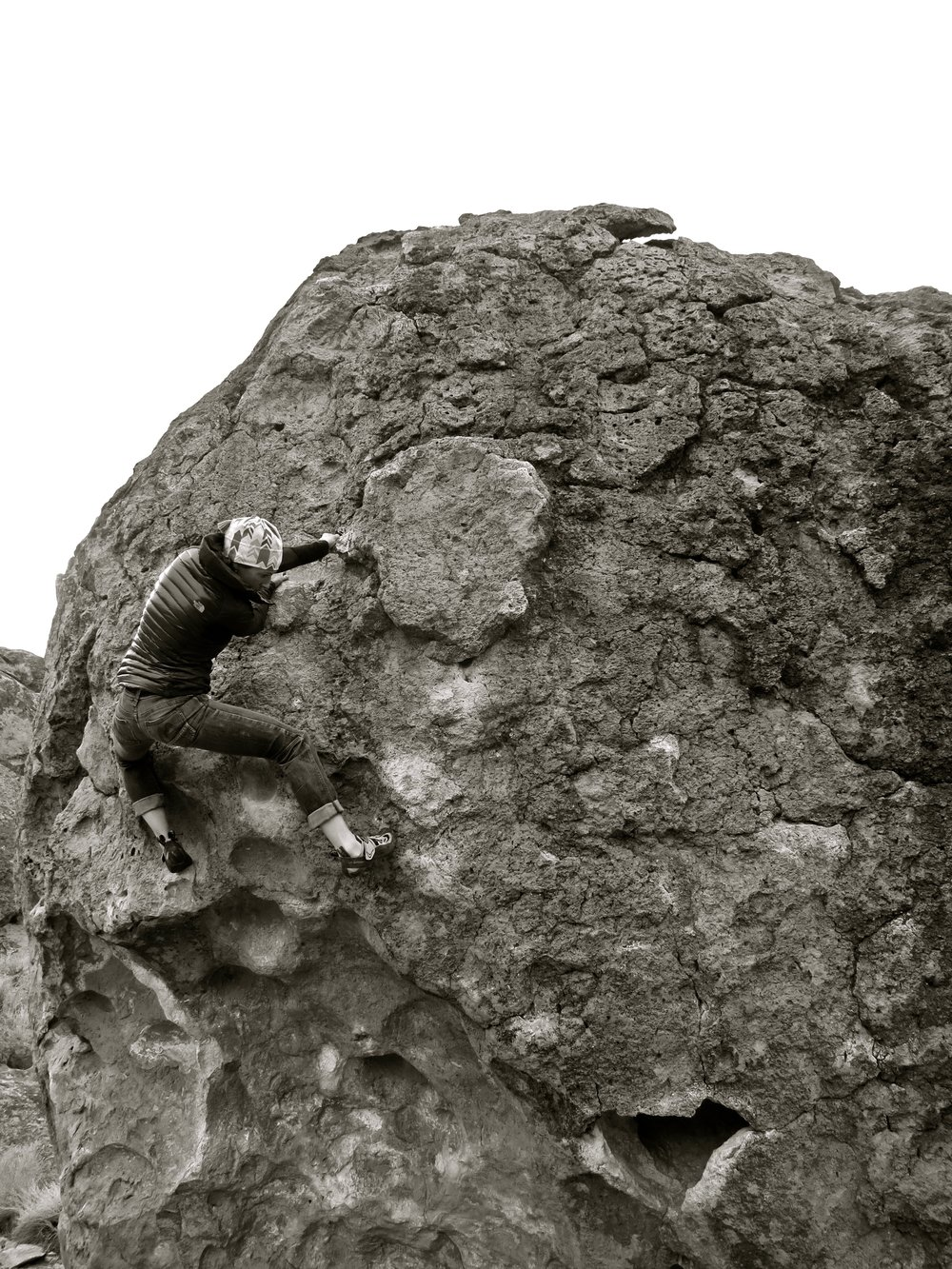 woman climber outside bouldering Bishop
