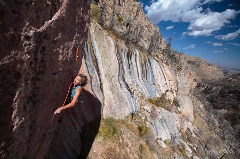 Inge climbing in Wyoming. Photo by Ben Herndon