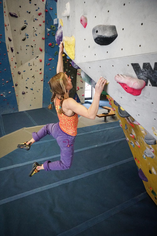 Inge at Spire Climbing Center.