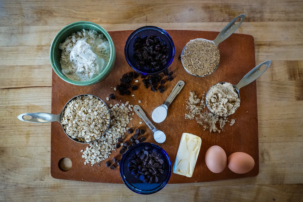 ingredients for healthy gluten free oatmeal cookies