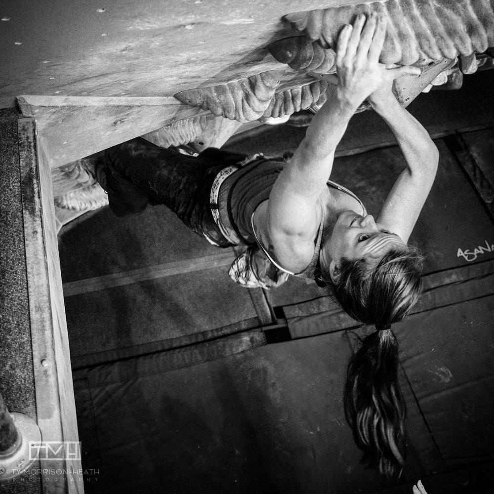 Blair climbing at Spire. Photo by Ty Morrison Heath.