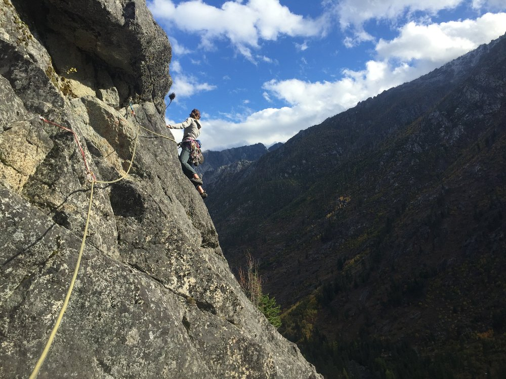 Rachel climbing in Leavenworth. Photo by Adam Greenstreet.