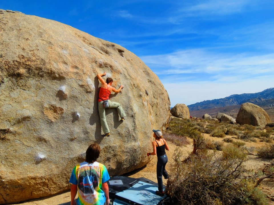 Leslie on King Tut in the Buttermilks. Photo by Erik Christensen.