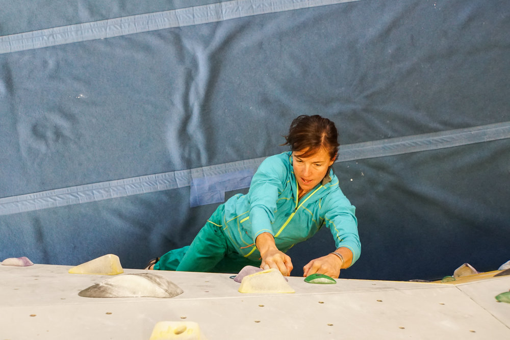 Climbing indoors training women strong
