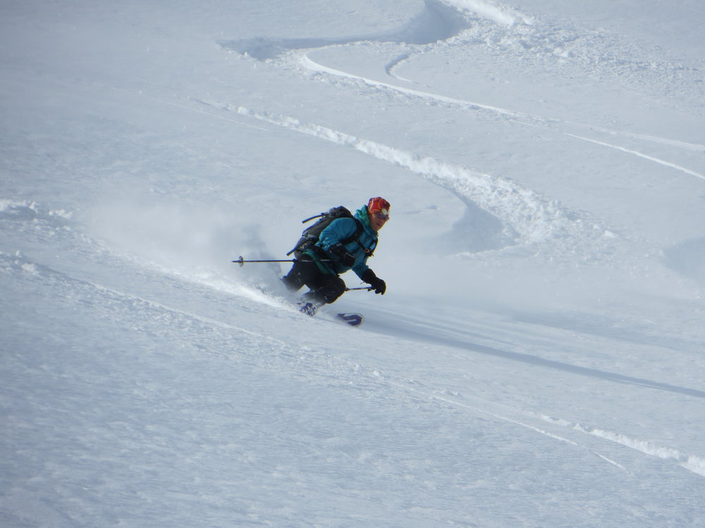 Jeannie Wall skiing Bozeman Montana powder