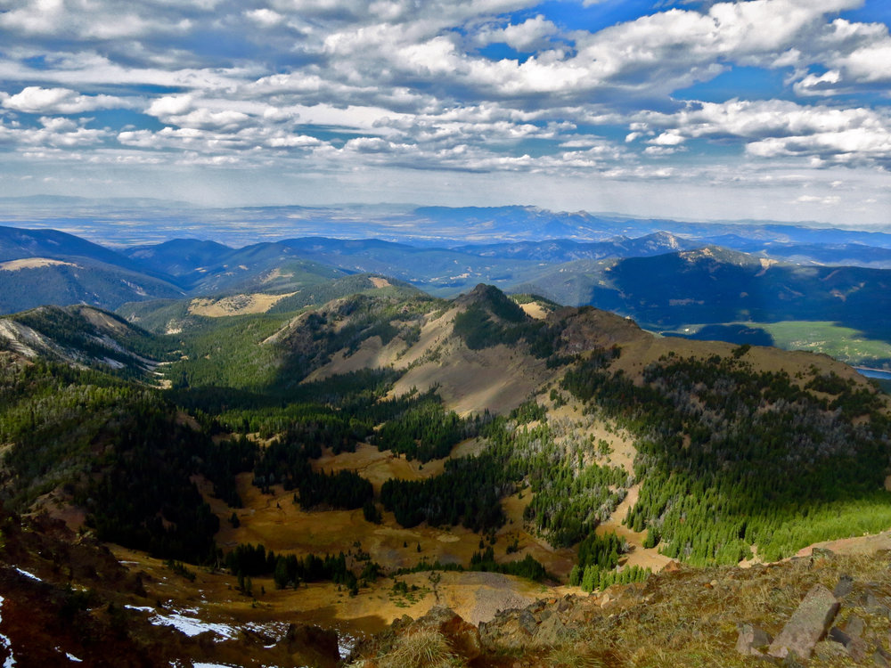 Gallatin Valley as seen from Blackmore Peak in Hyalite; Bridger Range is far off in the distance.
