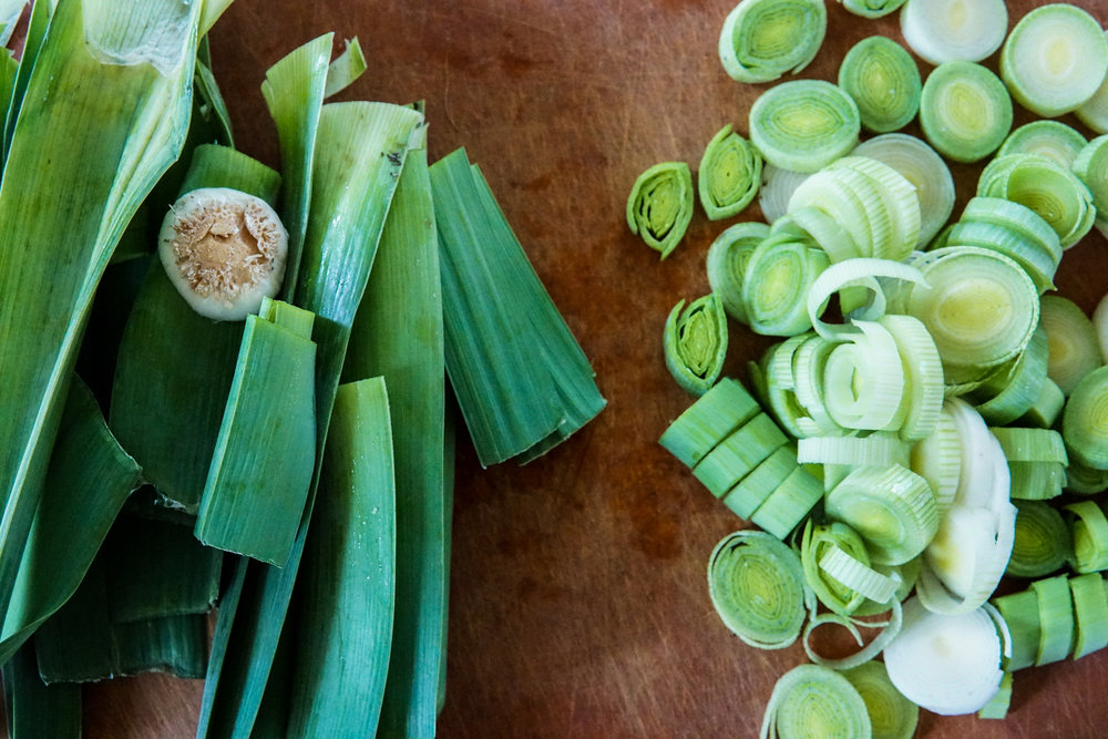Cutting leeks easy cooking delicious and healthy