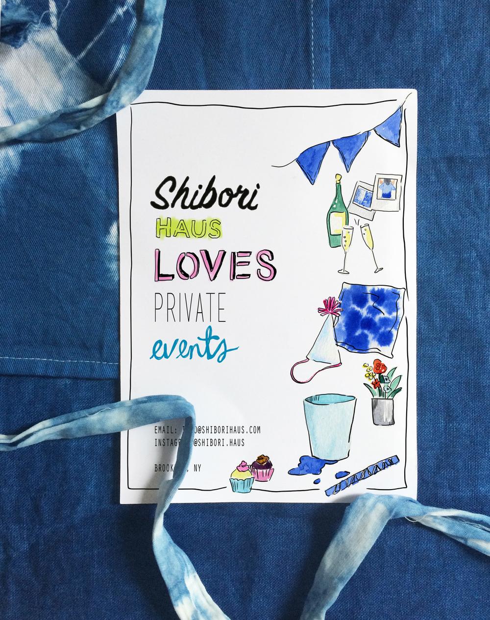 """""""SHIBORI HAUS"""" Private Events Flyer"""