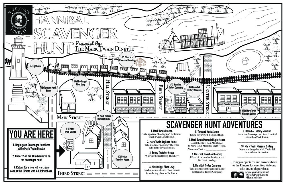 Kids Menu & Coloring Page Map - Mark Twain Dinette - Hannibal, MO