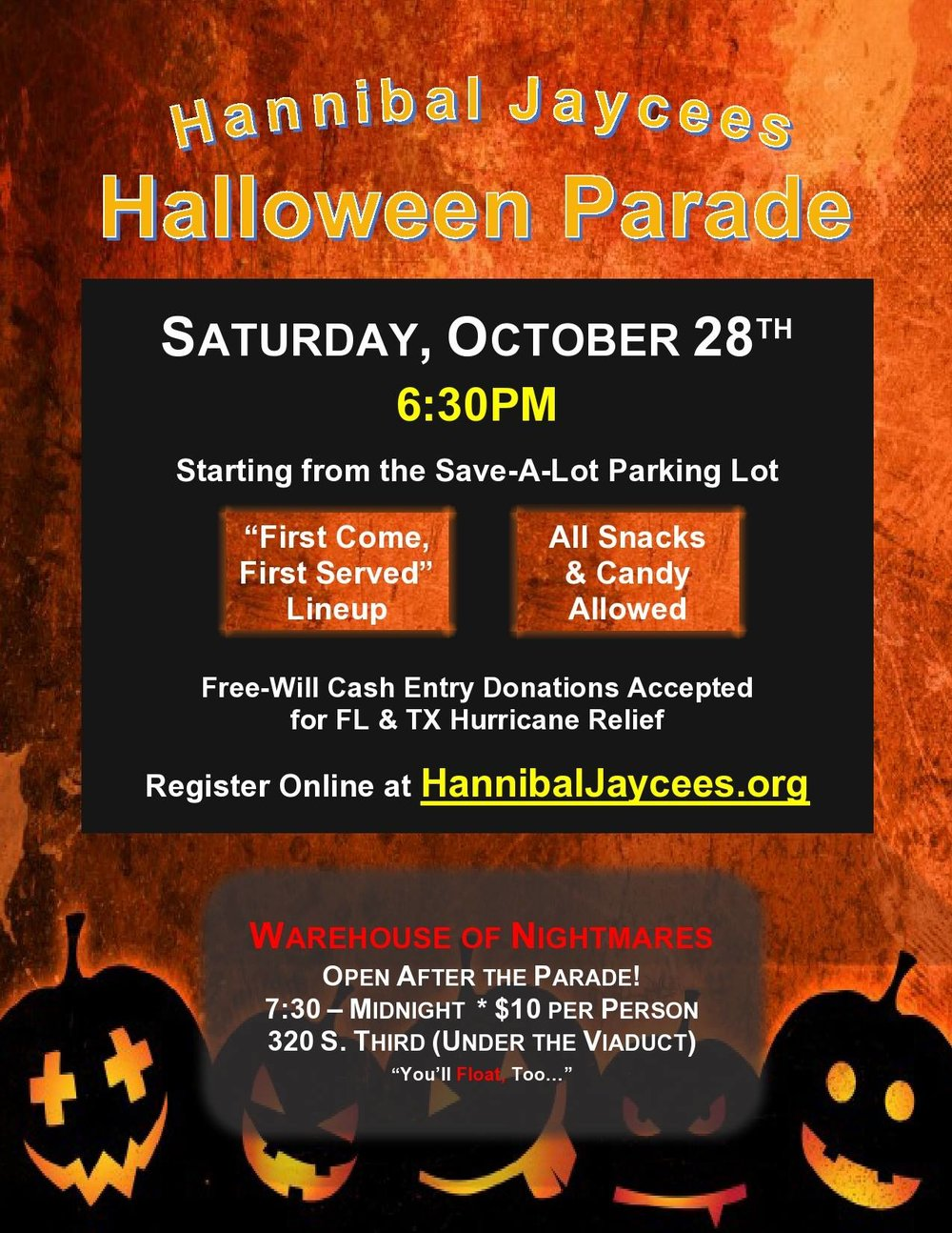 10/28: Jaycees Halloween Parade - Saturday, October 28th at 6:30pm. Not trick or treating, but still candy!