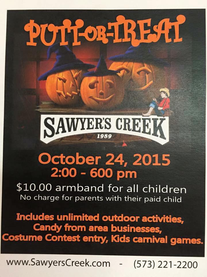 10/28: Putt or Treat - Saturday, October 28th from 2-6pm.
