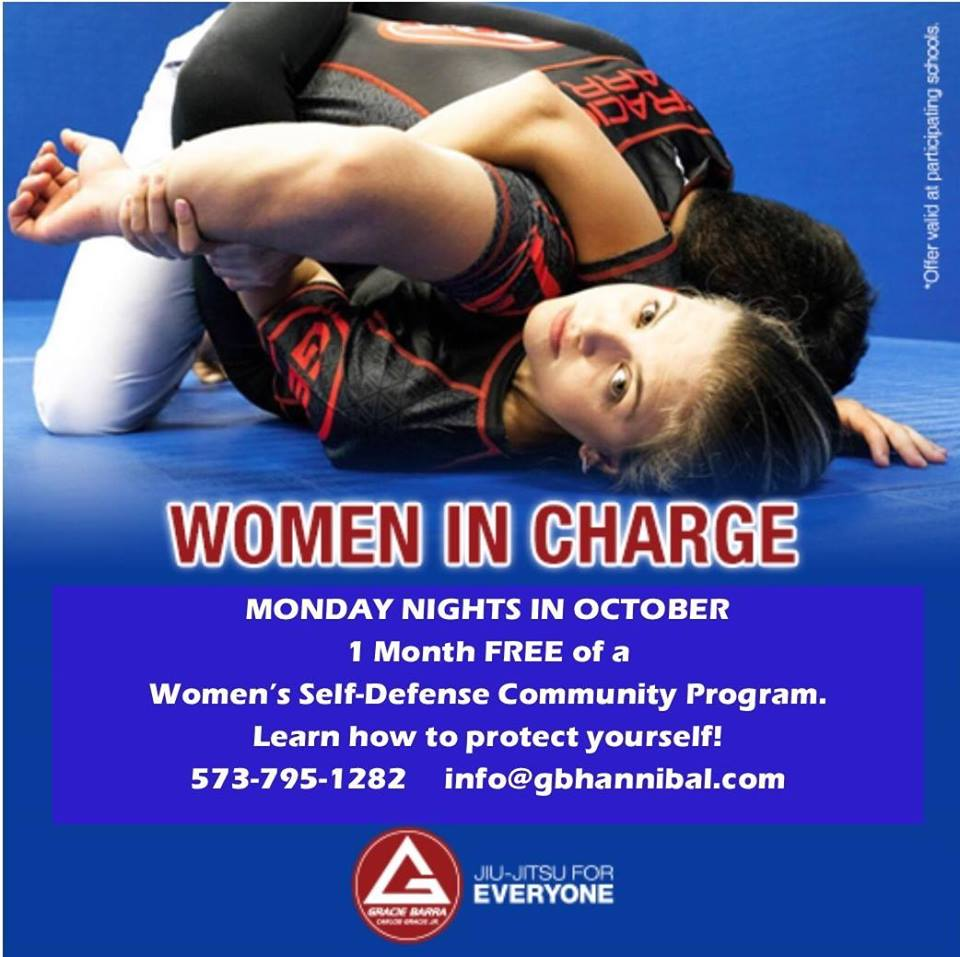 October 9th: Free Women's Self Defense - 6pm at Gracie Barra. Free Women's Self Defense on Monday's in October.