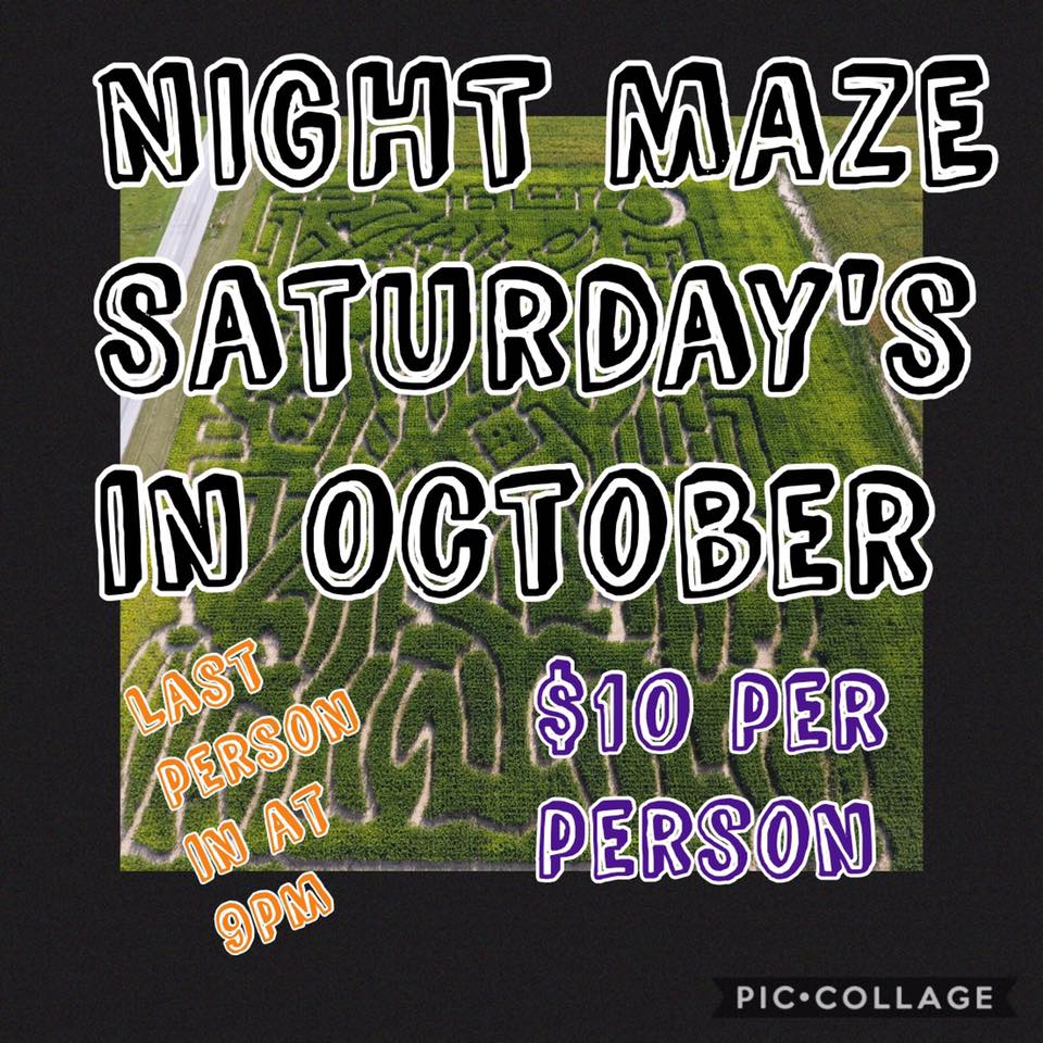 October 14th: Night Corn Maze - 6-9pm at Parkers Corn Maze (5532 Hwy 61 N). Bring a flashlight!