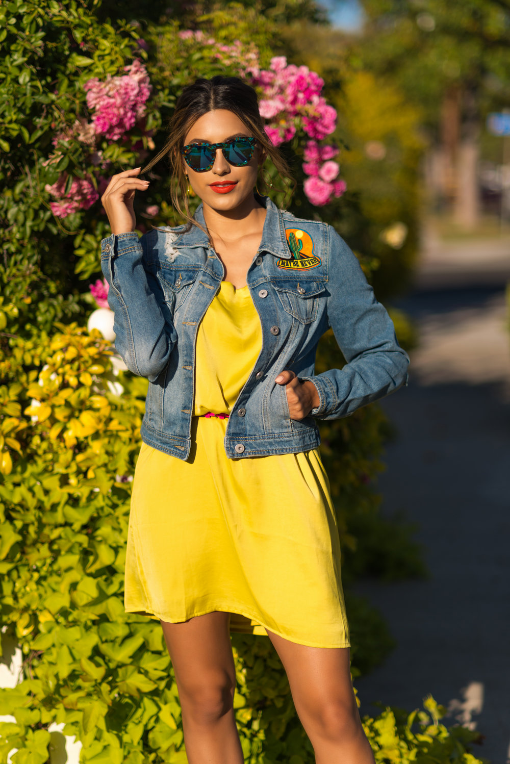 Sunglasses:  DIFF Eyewear // Dress:  Forever21 // Jacket:  Boom Boom Jeans // Shoes:  Chinese Laundry // Earrings:  Gorjana // Clutch:  Forever21 // Photos:  Miguel Chavez