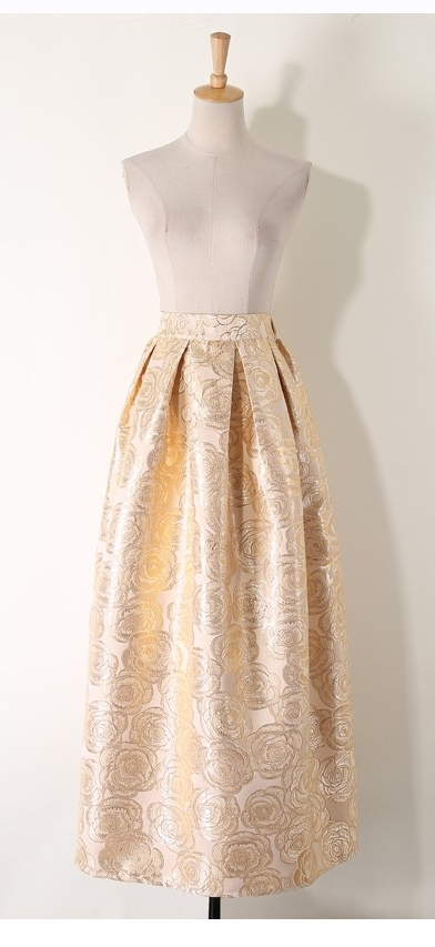 Metallic Ball Gown Skirt - Gold Roses — the date palm