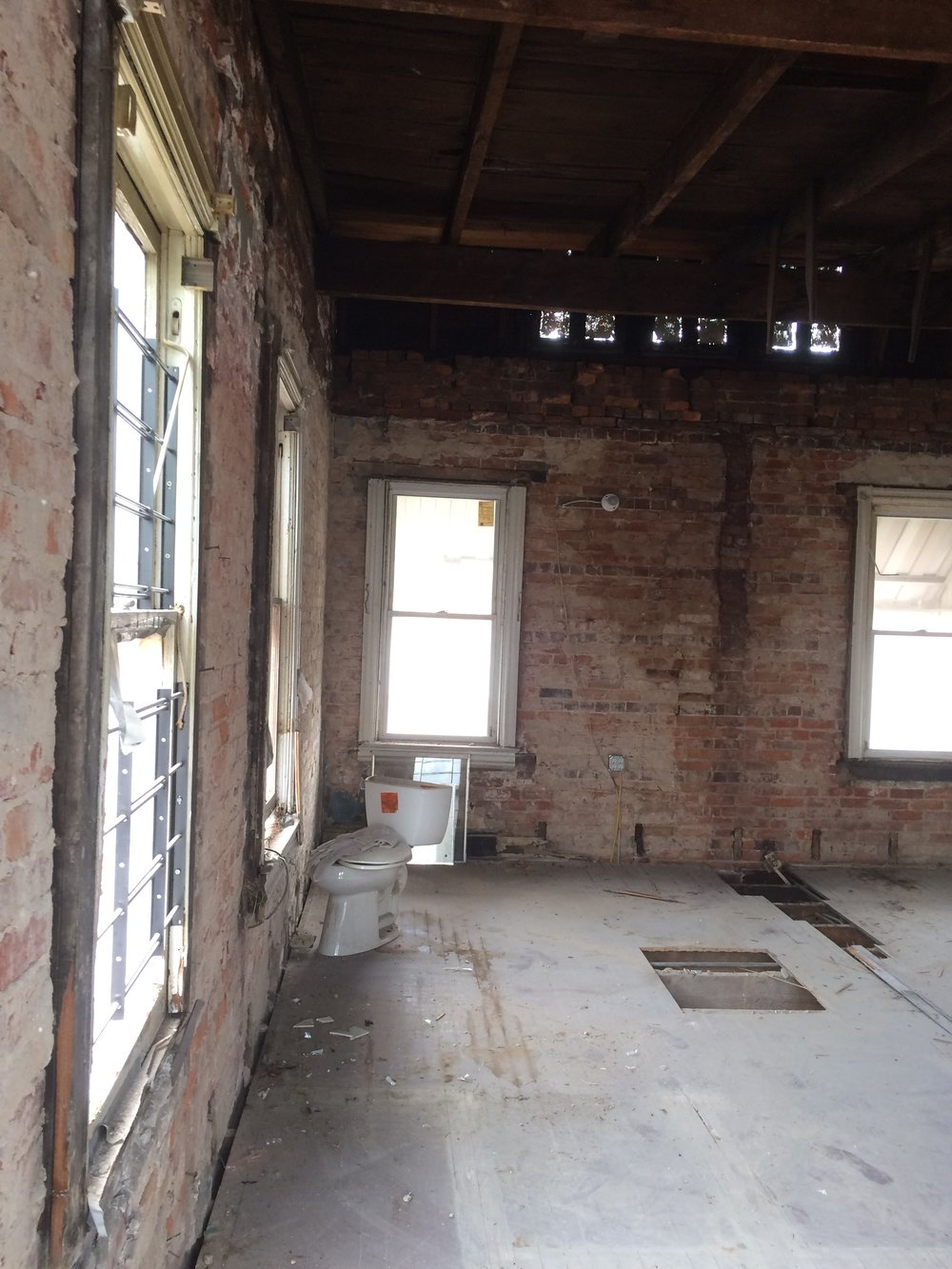View of interior after removal of walls and finishes