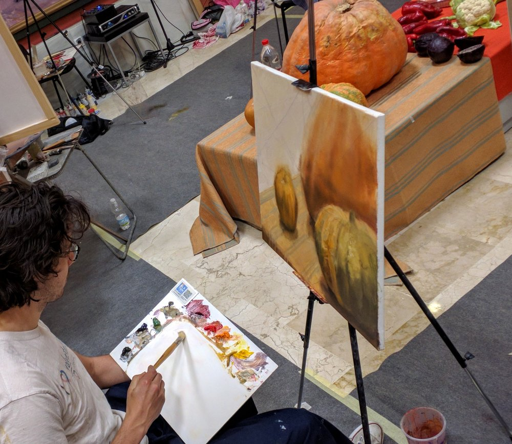 Miguel Mayher painting in oils from life in Antonio Lopez workshop in Spain.jpg