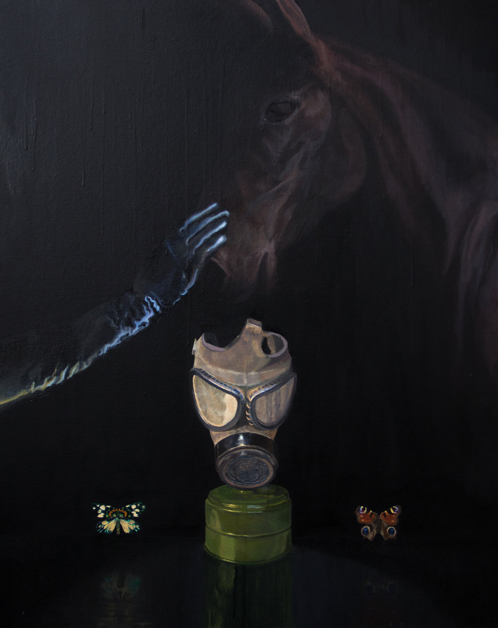 Nacho Vergara_Mask and buterflies_2018_81x62_Oil on canvas.jpg