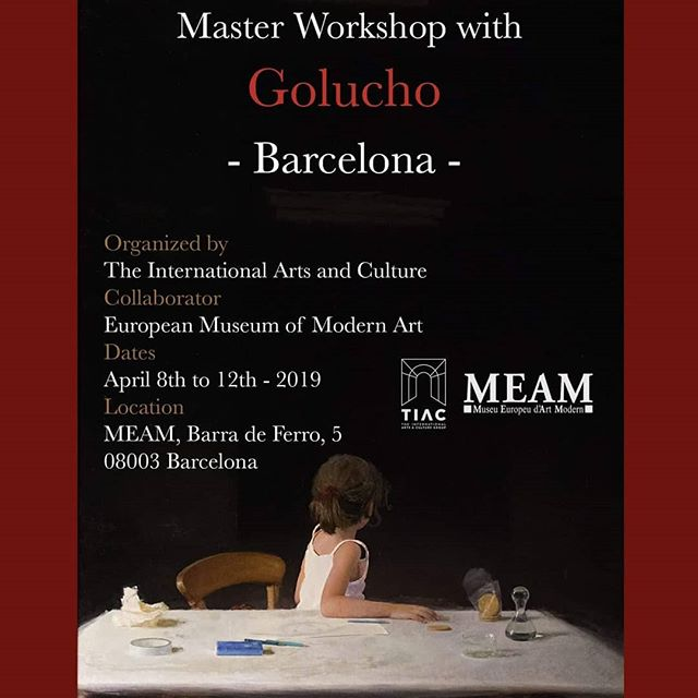 We are happy to share the dates for the Spanish Master Workshop with @golucho_pintor that will take place at @museumeam in Barcelona from  the 8th to the 12th of April 2019.  For more info click the link in Bio!  #figurativeart #golucho #allaprima #barcelona #igersbarça #igersbarcelona #oilpainting