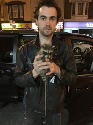 Archie with our Uber driving raccoon.