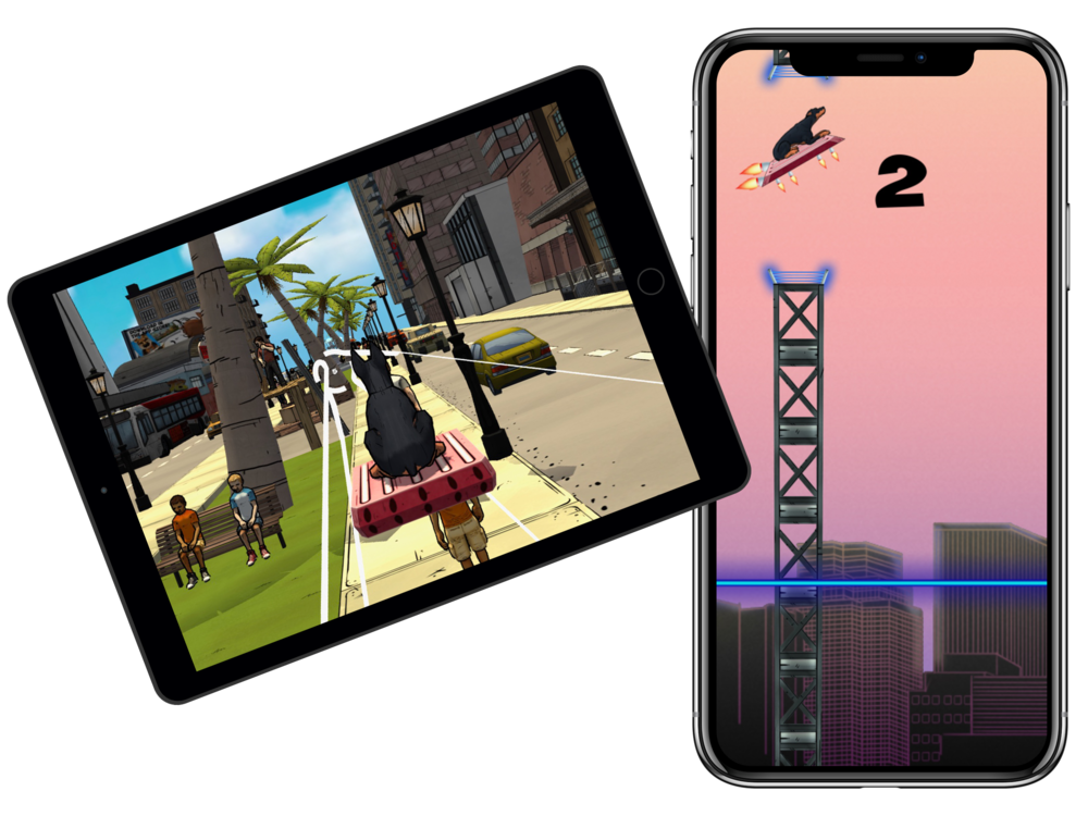 Hover Dog 2D/3D - Hover Dog 2D/3D are spin-off games based off the Get 'Em brand/IP. In the ever-evolving app store(s), having fast-casual games is a must!
