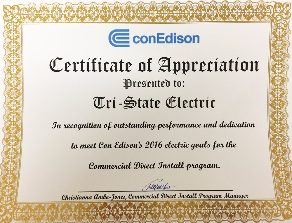 Con Edison Commercial Direct Install Program 2016 Award Winner