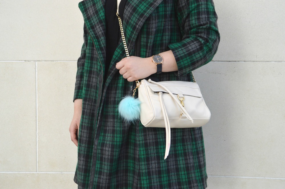 """(Marc Jacobs """"Baker Leather Strap"""" watch, Forever 21 crossbody, Francesca's puff keychain)"""