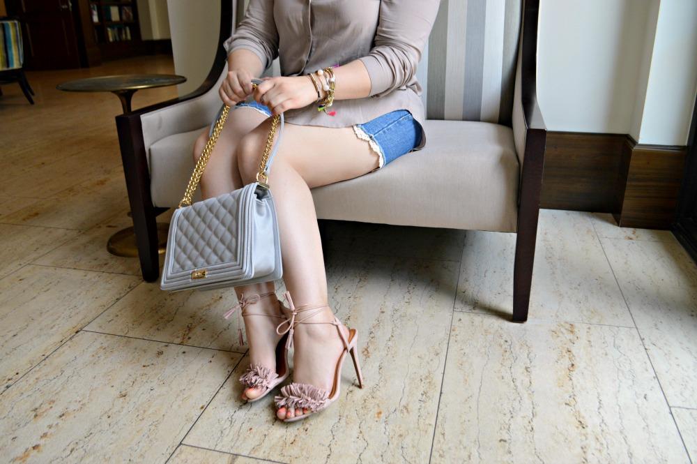 Top   TJmaxx  , Shorts   Forever21  , Handbag       BCBG  , Heels       Charlotte Russe  , Jewelry   Forever21 +Macy's + Target