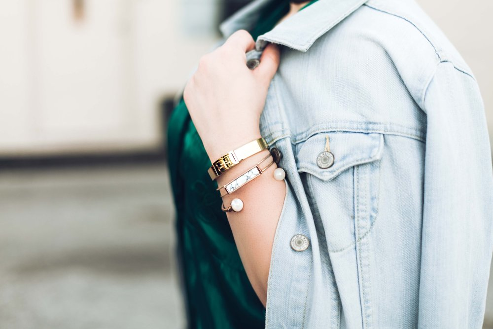 Photo Credit: @seeb.sensei //Gold bracelet   Michael Kors  , Marble cuff   Forever21  , Blush Stone cuff   Forever21