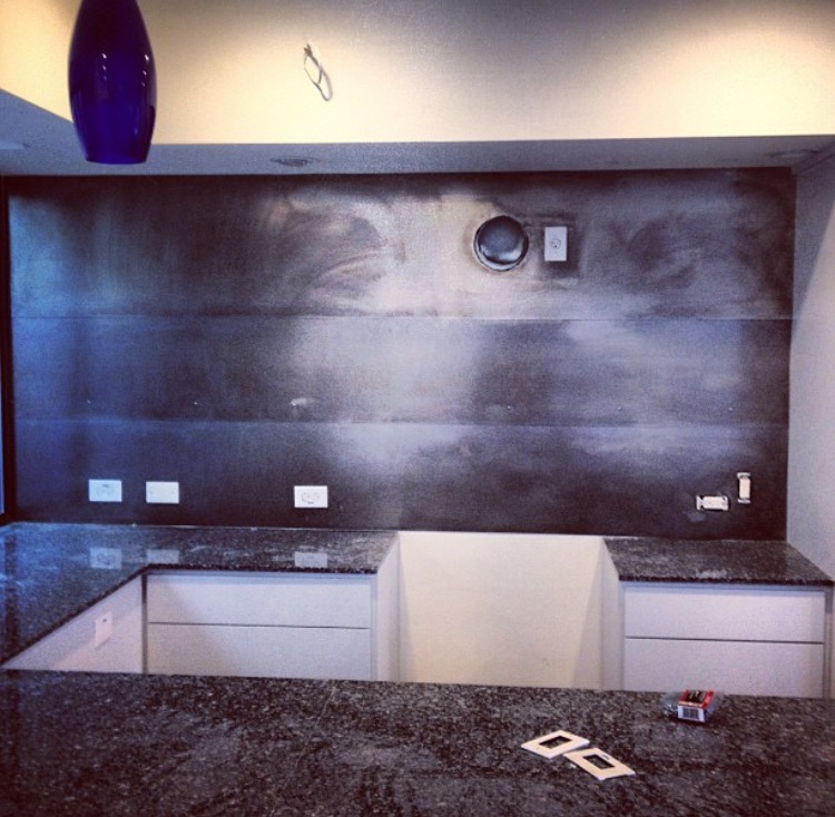 Blackened steel backsplash