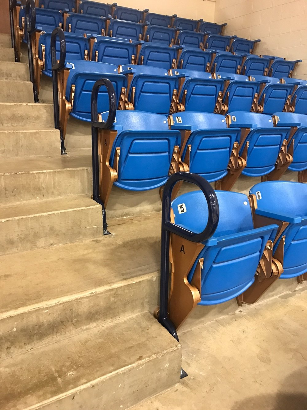 Removable stadium style handrails Fabricated, powder coated and installed