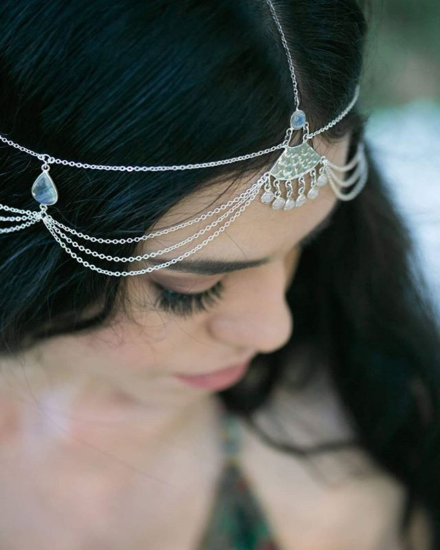 This headpiece is finally available for purchase on our website. We have one ready to ship so get in quickly for no waiting time ✌ . . Handmade with sterling silver, lustrous moonstone & lots of love ❤ . . Beautiful @zoecarstairs_ shot by @key_images_photography at @coolrainweddings . Hair and makeup by @blushandbangsbeauty . Styling by @rebeccachandlercreative . Lucky to have such an amazing team. Tap to meet the rest of them! . . #headpiece  #bridaljewelry #headjewelry #beautiful #bohemian #boho #bohobride #gatsby #bohowedding #weddinginspo #byronwedding #festivalstyle #hippie #festivalfashion #horses #countrywedding #headchain #etsyxsquare #estyau #brisstyle #bohojewelry #thatsdarling #flashesofdelight