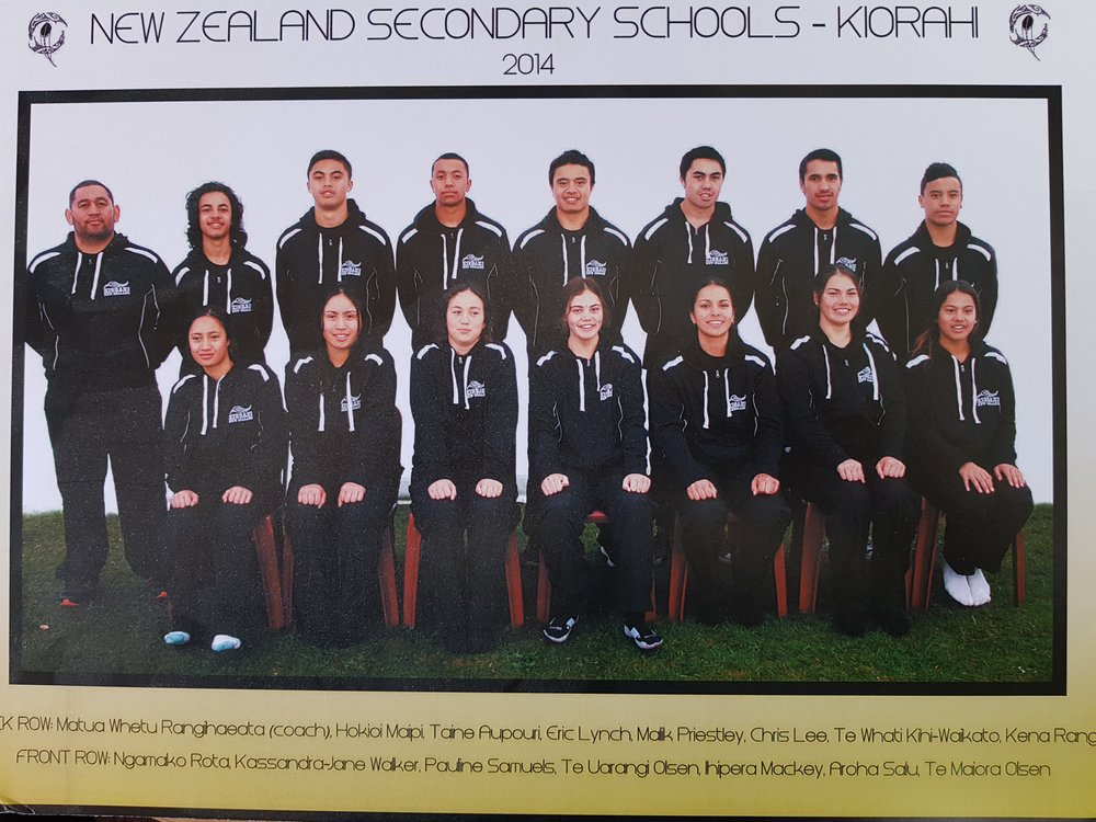 Whetu with his 2014 NZ Secondary Schools team
