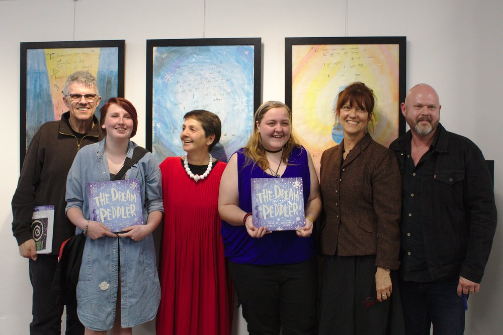 from left to right: publishing director dr mark macleod, big picture student j'aime, author irena kobald, big picture student felicity, publisher Margrete lamond, illustrator Christopher nielsen